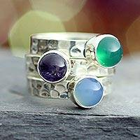 Amethyst stacking rings, 'Inspirational' (set of 3) - Amethyst stacking rings (Set of 3)