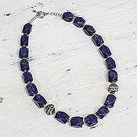 Lapis lazuli strand necklace, 'Blue Goddess' (India)
