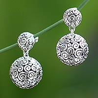 Sterling silver dangle earrings, 'Silver Twist' - Sterling Silver Dangle Earrings