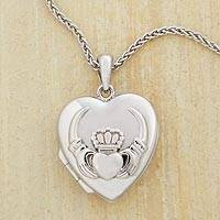 Sterling silver locket necklace, 'Crowned Claddagh' - Silver Claddagh Heart Locket