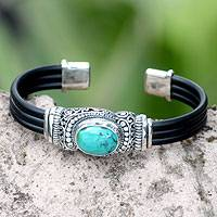Sterling silver cuff bracelet, 'Royal Splendor' - Sterling Silver and Reconstituted Turquoise Cuff Bracelet