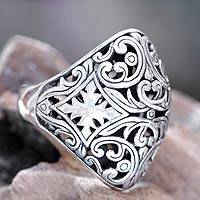 Sterling silver domed ring, 'Kedaton Forest' - Sterling Silver Domed Ring from Bali