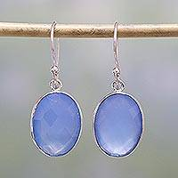 Chalcedony dangle earrings, 'Blue Serenity' - Handcrafted Chalcedony and Sterling Silver Dangle Earrings