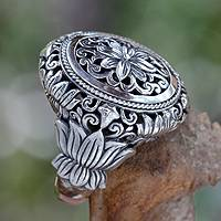 Sterling silver flower ring, 'Precious Lotus' - Hand Made Floral Sterling Silver Cocktail Ring