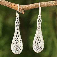 Sterling silver dangle earrings, 'Thai Lace' - Hand Made Sterling Silver Dangle Earrings