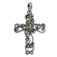 Peridot cross pendant, 'Balinese Cross' - Hand Made Sterling Silver and Peridot Cross Pendant