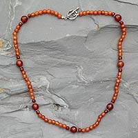 Carnelian strand necklace, 'Kerala Warmth' (India)