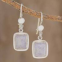 Jade dangle earrings, 'Maya Lilac' - Fair Trade Lilac Jade and Silver Modern Earrings