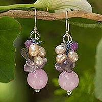Cultured Pearl and amethyst cluster earrings, 'Sweet Lavender' (Thailand)