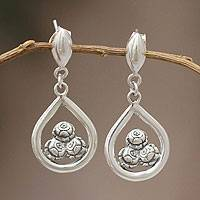 Sterling silver dangle earrings, 'Three Roses' - Sterling silver dangle earrings