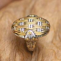 Gold accent cocktail ring, 'Wickerwork' - Sterling Silver and Gold Plated Cocktail Ring
