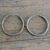 Sterling silver hoop earrings, 'Timeless Twist' - Indian Twist Design Sterling Silver Endless Hoop Earrings