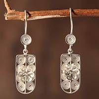 Sterling silver flower earrings, 'Highland Blossom' - Sterling Silver Flower Dangle Earrings