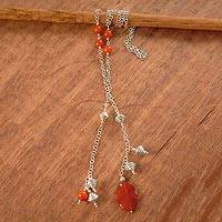 Carnelian long necklace, 'Versatile' - Carnelian Long Wrap Necklace