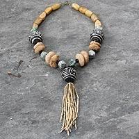 Jasper and terracotta beaded necklace,