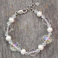 Pearl and quartz link bracelet, 'Spellbound' - Pearl and quartz link bracelet