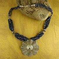 Lapis lazuli flower necklace, 'Floral Web' (India)