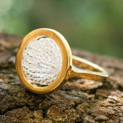 Gold plated cocktail ring, 'Meridian' - Handcrafted Gold Plated Beaded Ring