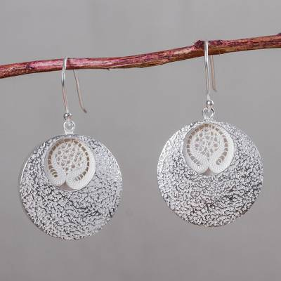 Sterling silver dangle earrings, 'Huancayo Sun' - Contemporary Andean Earrings in Sterling Silver Filigree