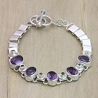 Amethyst and peridot pendant bracelet,