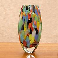 Handblown art glass vase, 'Carnival Confetti' - Unique Murano Inspired Glass Vase
