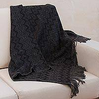 Throw blanket, 'Smoky Black Diamonds' - Throw Blanket with Diamond Motifs in Smoke and Black