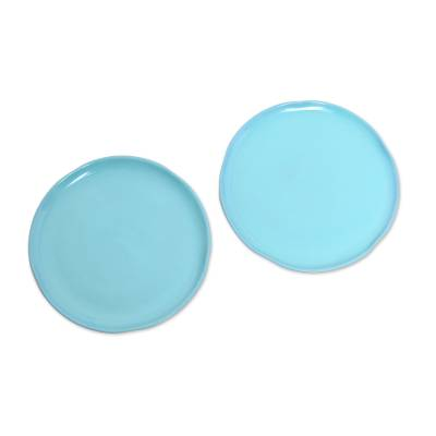Ceramic plates, 'Blue Eden' (pair) - Ceramic Plates in Blue from Java (Pair)