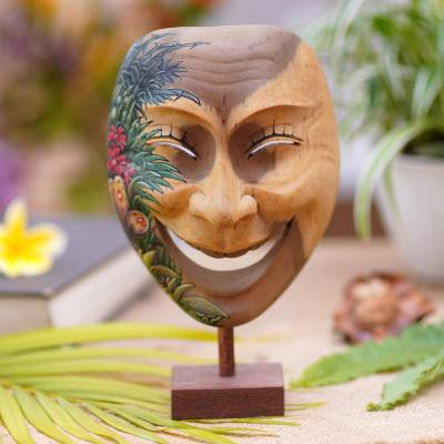 Wood mask, 'Gleeful Smile' - Balinese Handcrafted Hibiscus Wood Mask Butterfly Motif
