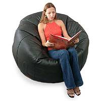 Leather beanbag couch, 'Comfort' (single) - Leather beanbag couch (Single)