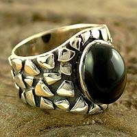 Men's onyx ring, 'Dark Clouds' - Men's onyx ring