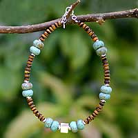Turquoise and tiger's eye beaded necklace, 'Natural Treasure' - Turquoise and tiger's eye beaded necklace