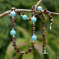 Turquoise and tiger's eye long beaded necklace, 'Illumination' - Turquoise and tiger's eye long beaded necklace