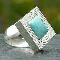 Amazonite cocktail ring, 'Lucky Hope' - Amazonite cocktail ring