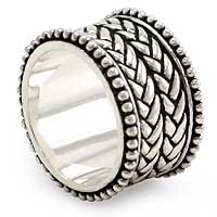 Sterling silver band ring, 'Woven Wonder' - Sterling silver band ring
