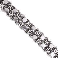 Sterling silver wristband bracelet, 'Floral Bubbles' - Sterling Silver Wristband Bracelet from India