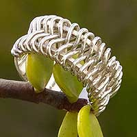 Sterling silver band ring, 'Leaves in the Breeze' - Sterling silver band ring
