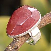 Rhodochrosite solitaire ring, 'Fire Flower' - Rhodochrosite solitaire ring