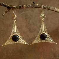 Gold vermeil onyx earrings,