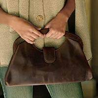 Leather handbag, 'Grand Central' - Brown Leather Handbag Hand Crafted in Mexico