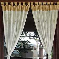 Cotton curtains, 'Tan Tropics' (pair) - Cotton curtains