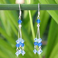 Beaded waterfall earrings, 'Sparkling Azure Trio' - Blue Glass Beaded Sterling Silver Waterfall Earrings