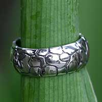 Men's sterling silver ring, 'Karma Path' - Men's sterling silver ring