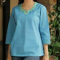 Cotton blouse, 'Summer Day' - Cotton blouse