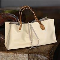 Leather handbag, 'Ivory Sophistication' - Leather handbag