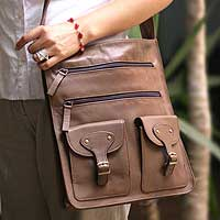 Leather shoulder bag, 'Versatile Life' - Unisex Brown Leather Shoulder Bag with Adjustable Strap
