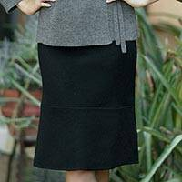 100% Alpaca wool skirt, 'Liquorice Chic' - 100% Alpaca wool skirt