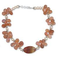 Pearl and feldspar beaded necklace, 'Earth Fusion' - Pearl and feldspar beaded necklace