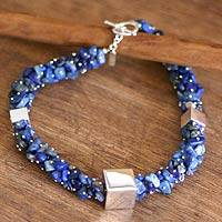 Lapis lazuli beaded necklace, 'Mystical Cubes' (Peru)