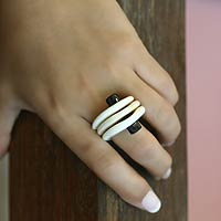 Ebony cocktail ring, 'Ivory Waves' - Ebony cocktail ring