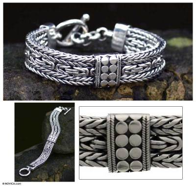Sterling silver braided bracelet, 'Royal Joy' - Indonesian Sterling Silver Braided Bracelet